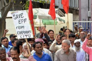 Participants shout slogans during a protest against the government's plan to curb EPF withdrawals. Credit: PTI