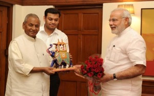 File photo of Kalyan Singh and Narendra Modi, after the latter became prime minister. CreditL PMO
