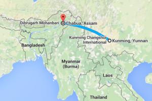 Chabua-Kunming, as the crow flies. Credit: Google Maps