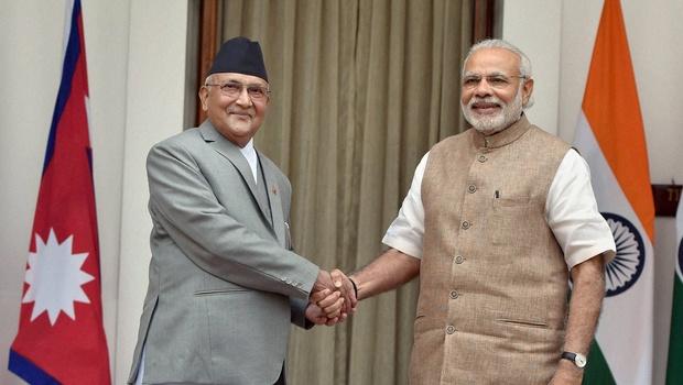 File photo of Prime Minister Narendra Modi and his Nepalese counterpart Khadga Prasad Sharma Oli meeting in Delhi last February. Credit: PTI