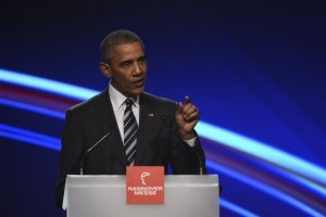 US President Barack Obama gestures as he makes a speach during the opening ceremony of the Hannover Messe in Hanover, Germany April 24, 2016. Credit: Reuters