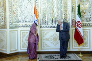 Union External Affairs Minister Sushma Swaraj with Iranian Foreign MInister Mohammad Javad Zarif before a bilateral meeting in Tehran on Sunday, April 17. Credit: MEA