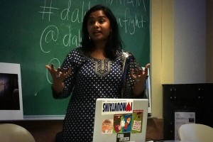 Thenmozhi Soundararajan, an anti-caste activist, speaking at 'Dalit Women Fight!' at UC Berkeley, California, 2014. Credit: Twitter