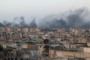 Smoke rises after airstrikes on the rebel-held al-Sakhour neighborhood of Aleppo, Syria. Credit: Reuters