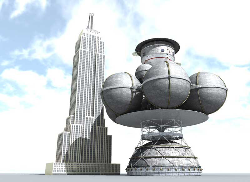 The size of the (unbuilt) Daedalus starship compared to the Empire State Building, which is 443 metres tall. Credit: Adrian Mann/bisbos.com
