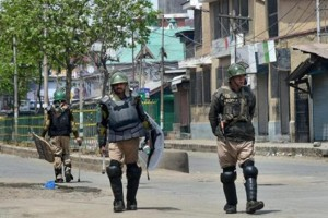 Security forces in Handwara after the protests. Credit: PTI