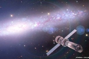 Artist's conception of the ATHENA X-ray observatory.  ATHENA/ESA