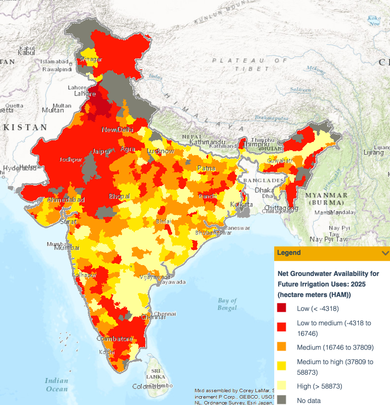 Net groundwater availability for future irrigation uses in 2025, in hectare-metres. Credit: WRI