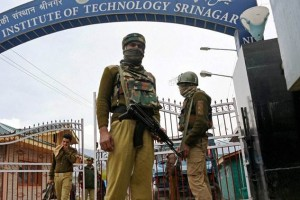 NIT Srinagar gates guarded by the CRPF. Credit: PTI
