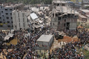 Collapsed Rana Plaza building. Credit: Reuters