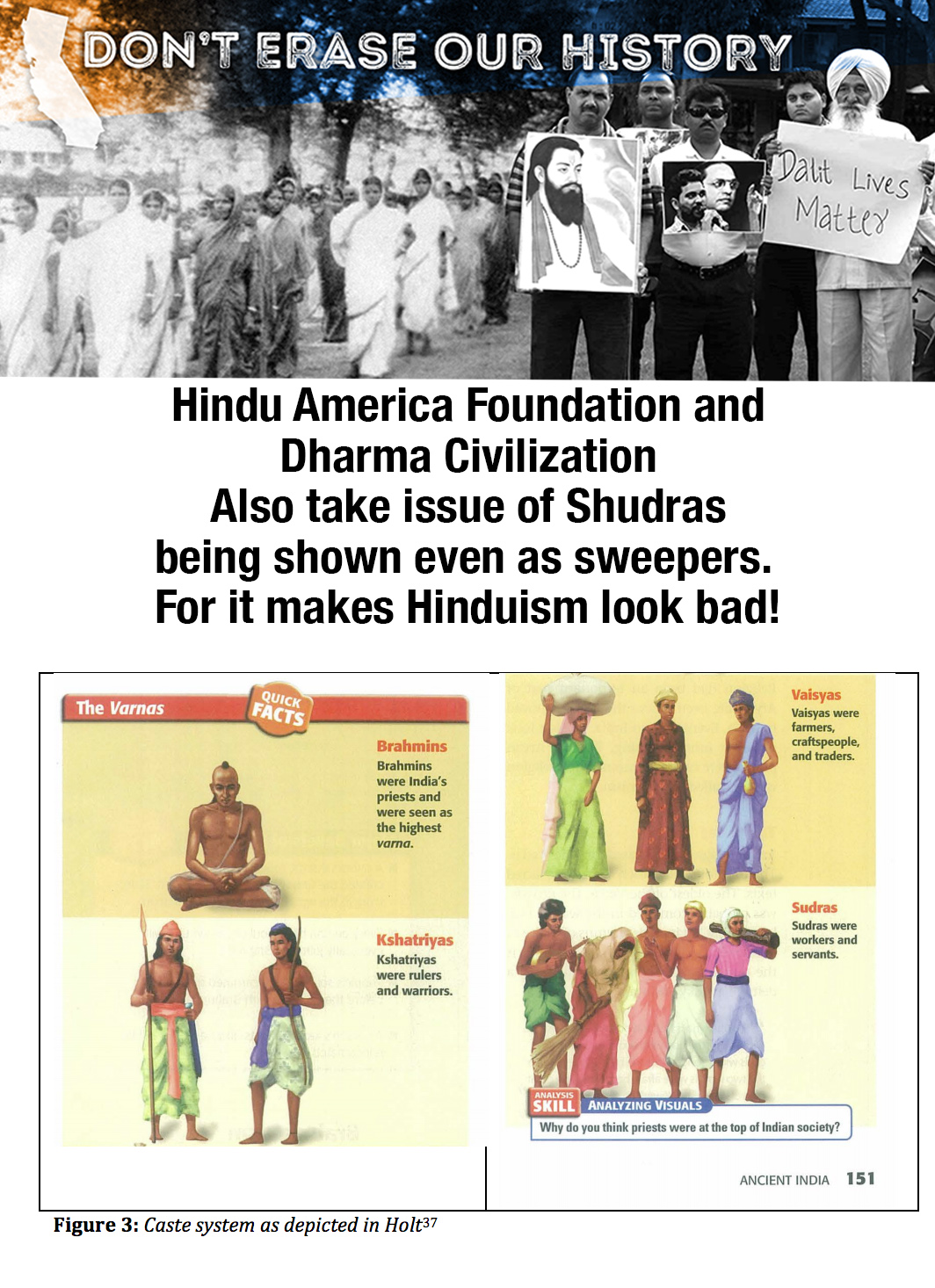 A poster protesting the Hindu American Foundation's claims, also showing an image from an American history textbook explaining the caste system.