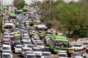 A pile-up of cars seen on a Delhi road. Credit: PTI