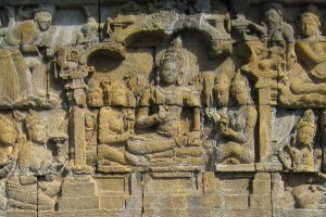 A panel depicting a section of the Lalitavistara Sutra in Borobudur, Indonesia. Credit: Anandajoti/Wikimedia Common CC BY-SA 3.0