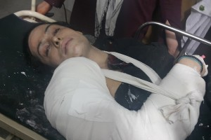 Alesha, who was shot 8 times, in hospital. Credit: Trans Action Khyber Pakhtunkhwa/Facebook