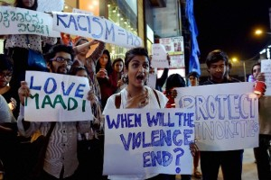 Protests in Bengaluru after the mob attack on a Tanzanian girl. Credit: PTI/Files