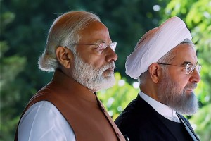 Prime Minister Narendra Modi with Iranian President Hassan Rouhani, during an official arrival ceremony at the Saadabad Palace in Tehran, Iran, Monday. Credit: PTI/ Shahbaz Khan