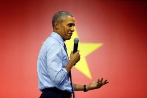 US President Barack Obama reacts as he attends a town hall meeting with members of the Young Southeast Asian Leaders Initiative (YSEALI) at the GEM Center in Ho Chi Minh City, Vietnam May 25, 2016. Credit: Reuters/Carlos Barria