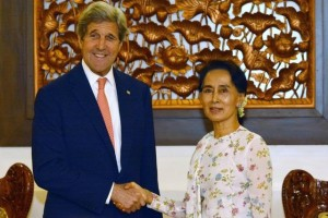 US Secretary of State John Kerry shakes hands with Myanmar's Foreign Minister Aung San Suu Kyi during a meeting in Naypyitaw, Myanmar, Sunday, May 22, 2016. Credit: Reuters/Aung Shine Oo/Pool