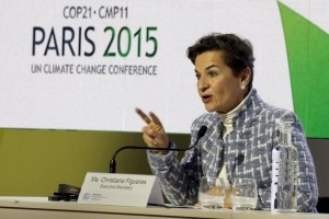 Christiana Figueres, Executive Secretary of the United Nations Framework Convention on Climate Change (UNFCCC), attends a news conference during the World Climate Change Conference 2015 (COP21) at Le Bourget, near Paris, France, in this December 7, 2015 file photo. Credit: Reuters/Jacky Naegelen/Files