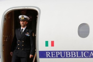 Italian sailor Salvatore Girone alights from the plane after landing at Ciampino airport in Rome, Italy, May 28, 2016. Credit: Reuters/Alessandro Bianchi