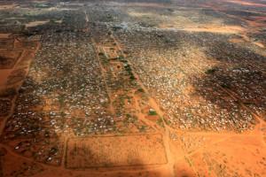 An aerial view shows makeshift shelters at the Dagahaley camp in Dadaab, near the Kenya-Somalia border in Garissa County, Kenya, April 3, 2011. Reuters/Thomas Mukoya/File Photo