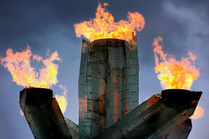 The Olympic Torch burns. Credit: Noel Reynolds/Flickr, CC BY 2.0