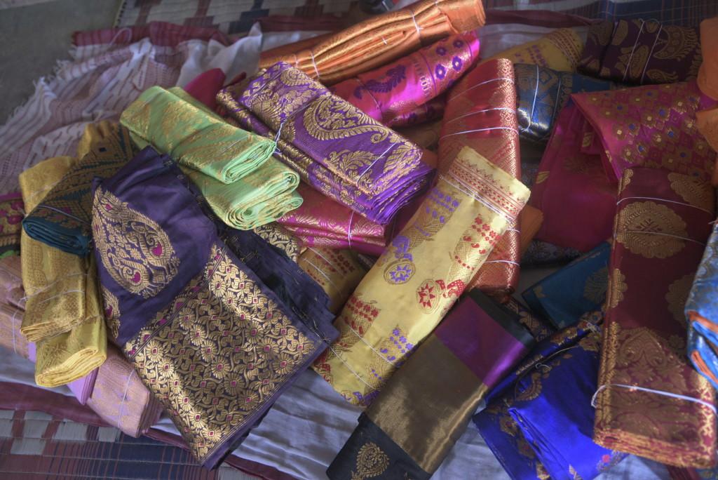 An assortment of popular mekhela designs. Credit: Uddipta Sankar Pathak