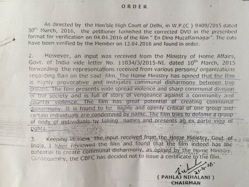 The order issued by CBFC chief Pahlaj Nihalani which quotes the Home Ministry