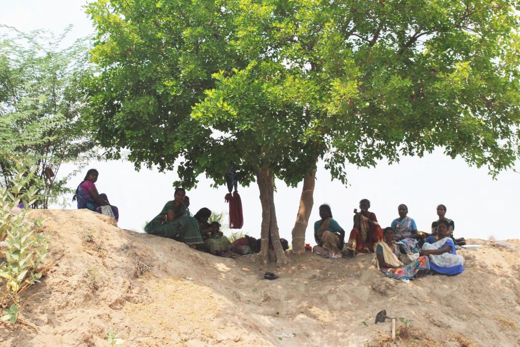 Dalit women take a lunch break during their NREGA work. Credit: Rohini Mohan