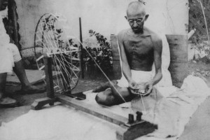 M.K. Gandhi at his spinning wheel in the 1920s. Credit: Wikipedia