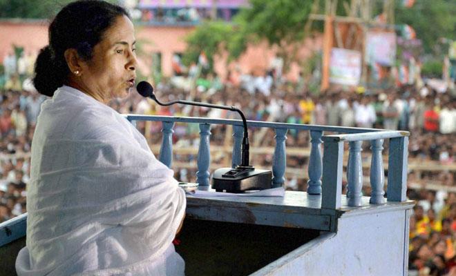 Mamata Banerjee speaking at a rally. Credit: PTI