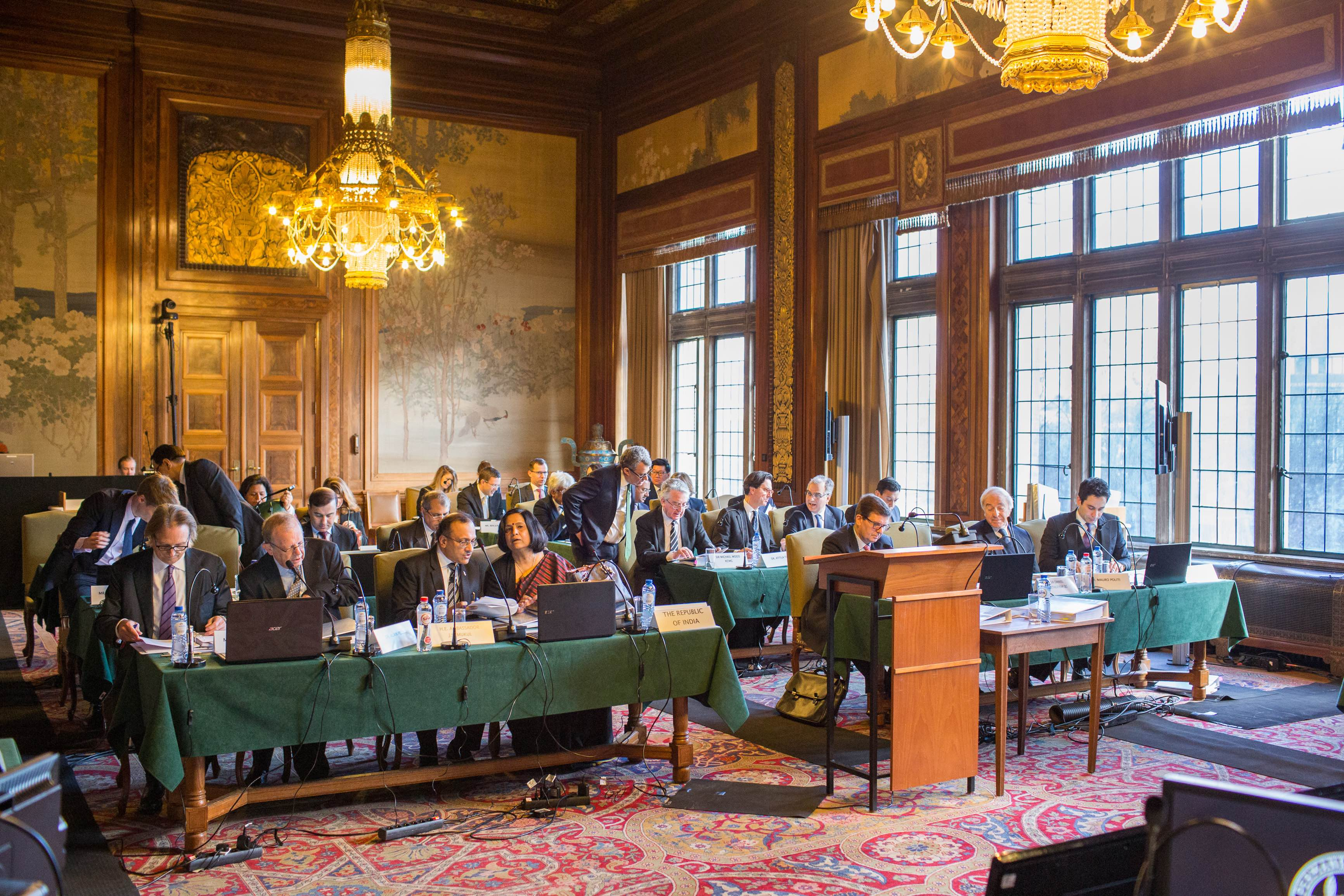 The Indian and Italian legal teams at a hearing of the arbitral tribunal in the Enrica Lexie case at the Permanent Court of Arbitration in The Hague. Credit: PCA