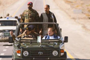General Raheel Sharif drives Prime Minister  Nawaz Sharif on the newly constructed patch of CPEC in Gwadar. Credit: ISPR/The Herald