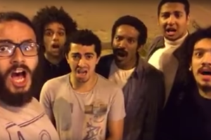 The members of Awlad el-Shawarea during a satirical performance. Credit: Youtube