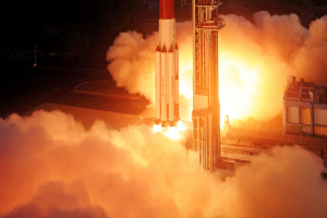 The PSLV takes off on its 24th mission in April 2014 to launch the IRNSS 1B satellite. Source: ISRO