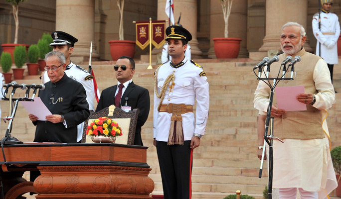Prime Minister Narendra Modi at his swearing-in ceremony in 2014. Credit: Wikimedia Commons