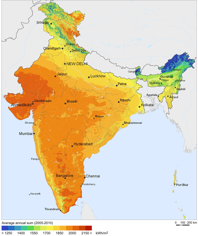 Solar Resource Map of India. Credit: Wikipedia.