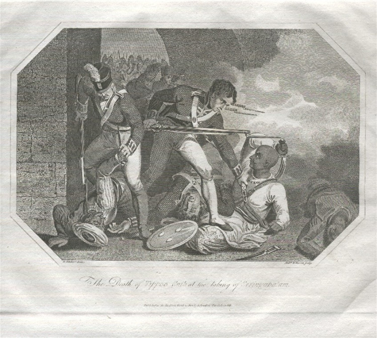 """The Death of Tippoo Saib at the taking of Seringapatam,"" an engraving from 1804."