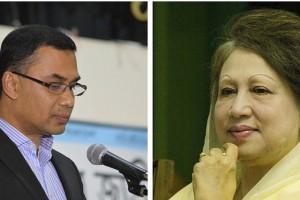 Tarique Rahman and Khaleda Zia. Credit: Facebook/Wikimedia Commons