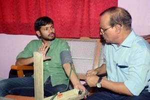 JNU students' union president Kanhaiya Kumar having his BP checked. Credit: PTI