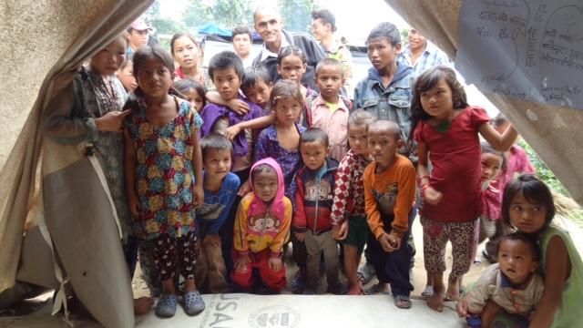 Children from Haku village in an IDP camp in Kalikasthan, Rasuwa. Credit: Shradha Ghale