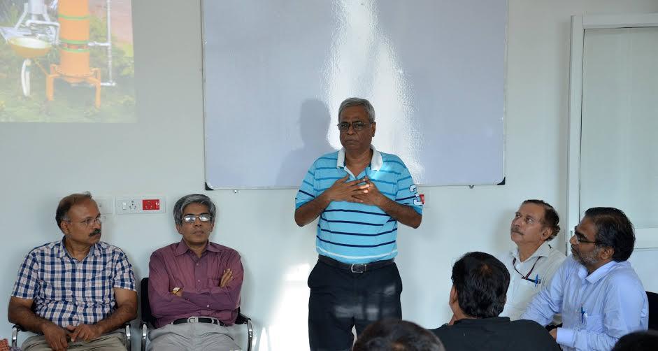 (From left to right) Krishnan Balasubramnian, Bhaskar Ramamurthi (director, IIT-M), Ashok Jhunjhunwala and T. Pradeep. Credit: IIT Madras/Facebook