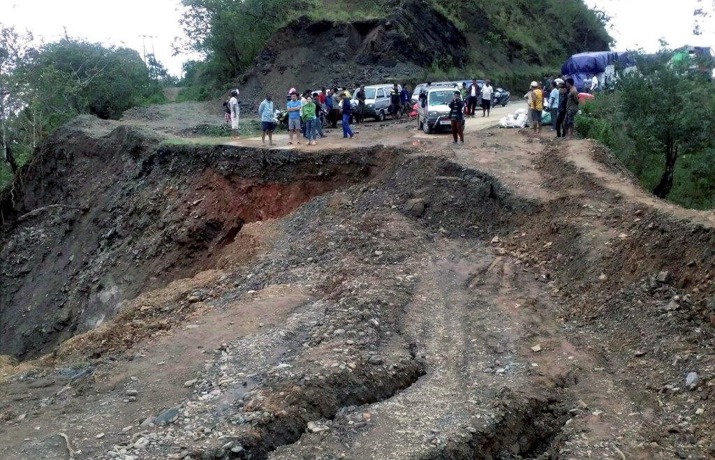 National Highway 2 – the Imphal Moreh road – is washed away due to land slides at Holejang in Chandel district Manipur on Monday. Credit: PTI