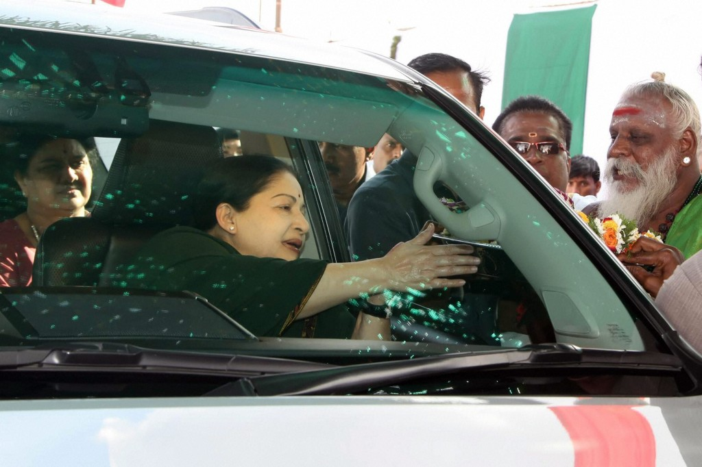 Tamil Nadu chief minister and AIADMK supremo J Jayalalithaa at an election campaign in Tirunelveli on Thursday. Credit: PTI