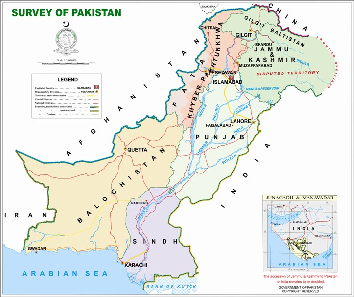 "The official map of Pakistan as issued by the Survey of Pakistan shows Jammu and Kashmir as a part of Pakistan, though with the caveat ""Disputed Territory'. Interestingly, this map also shows Junagadh in Gujarat as lying outside India. Source: Survey of Pakistan"