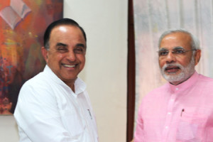 Narendra Modi and Subramanian Swamy. Credit: narendramodi.in