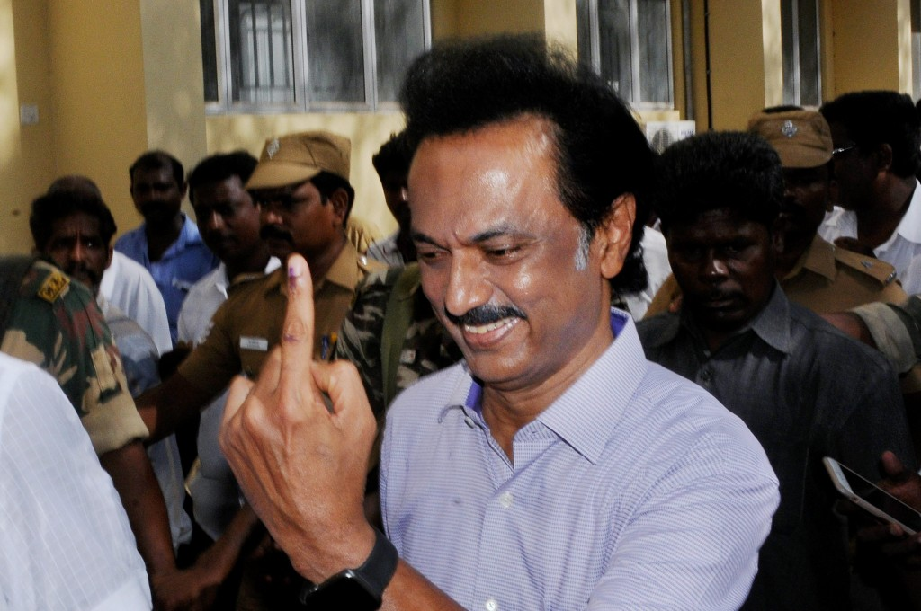 DMK treasurer MK Stalin shows his inked finger after casting his vote in Chennai on Monday. Credit: PTI