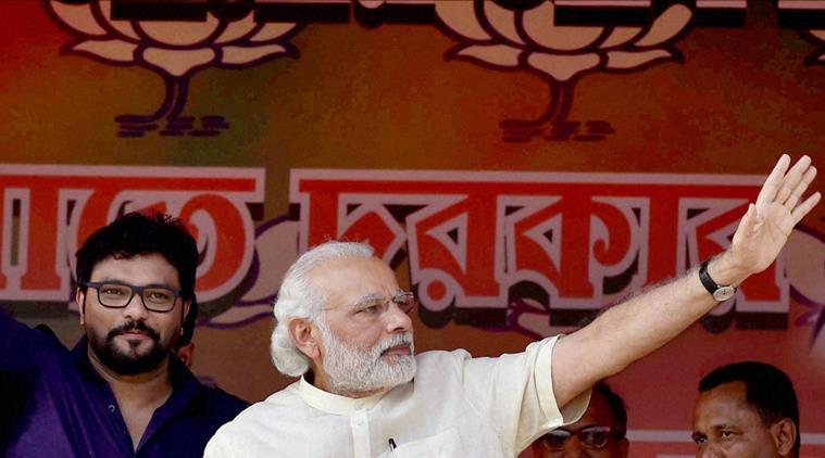 PM Narendra Modi and Union Minister Babul Supriyo at a BJP election rally in Asansol. PTI Photo by Swapan Mahapatra