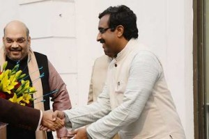 Ram Madhav with Prime Minister Narendra Modi and BJP President Amit Shah. Credit: Rammadhav.in