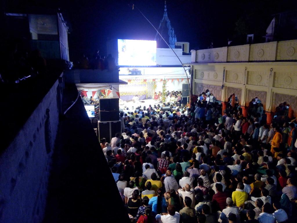 The audience at the Sankat Mochan festival, Banaras, on April 29, listening to sitarist Neeladri Kumar perform Raga Jhinjhoti.